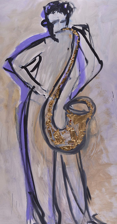 Playing saxophone Oil on canvas, 120cm x 150cm, 2019. Serie Music