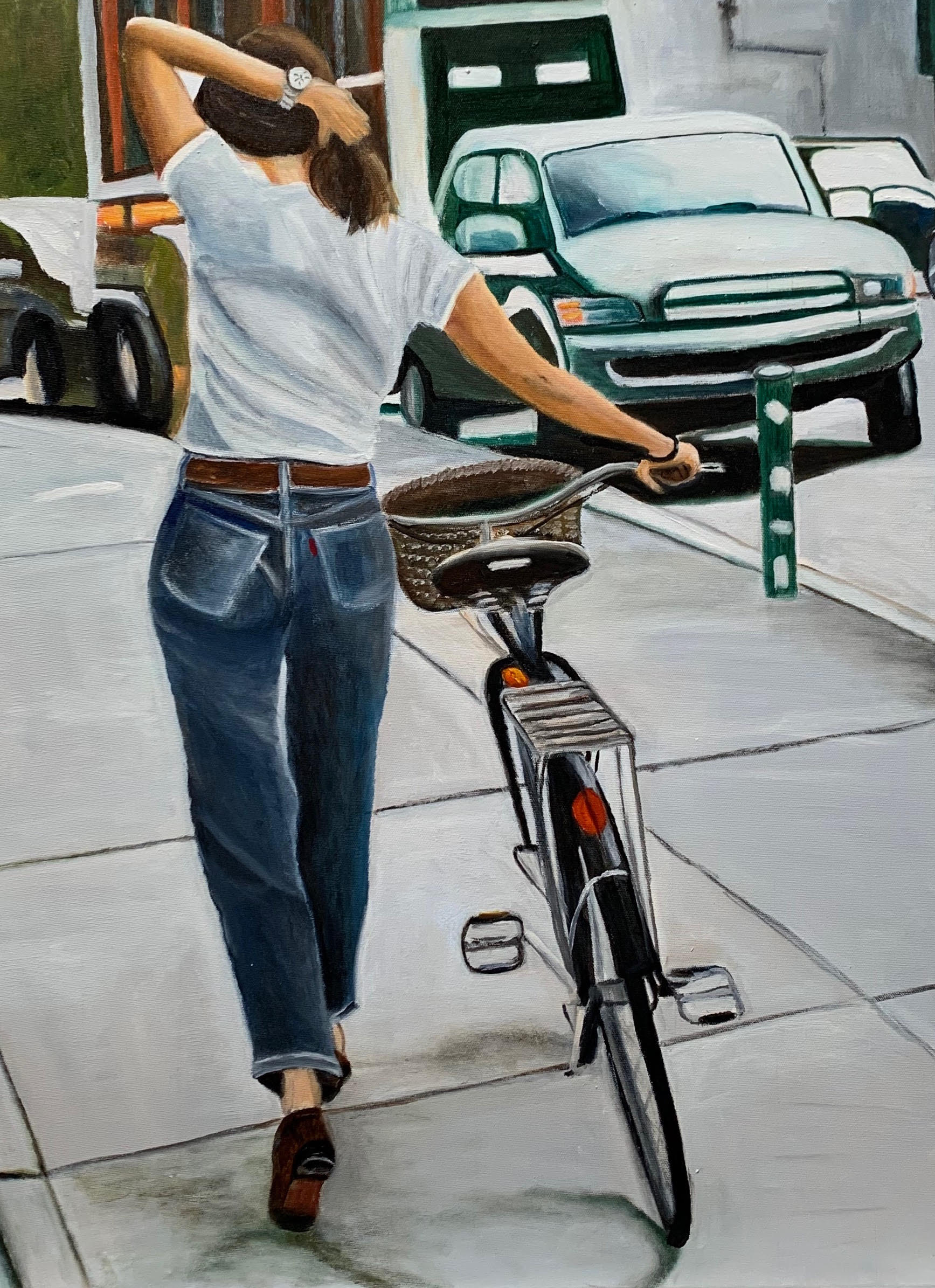 The girl with her bicycle   € 1700,00