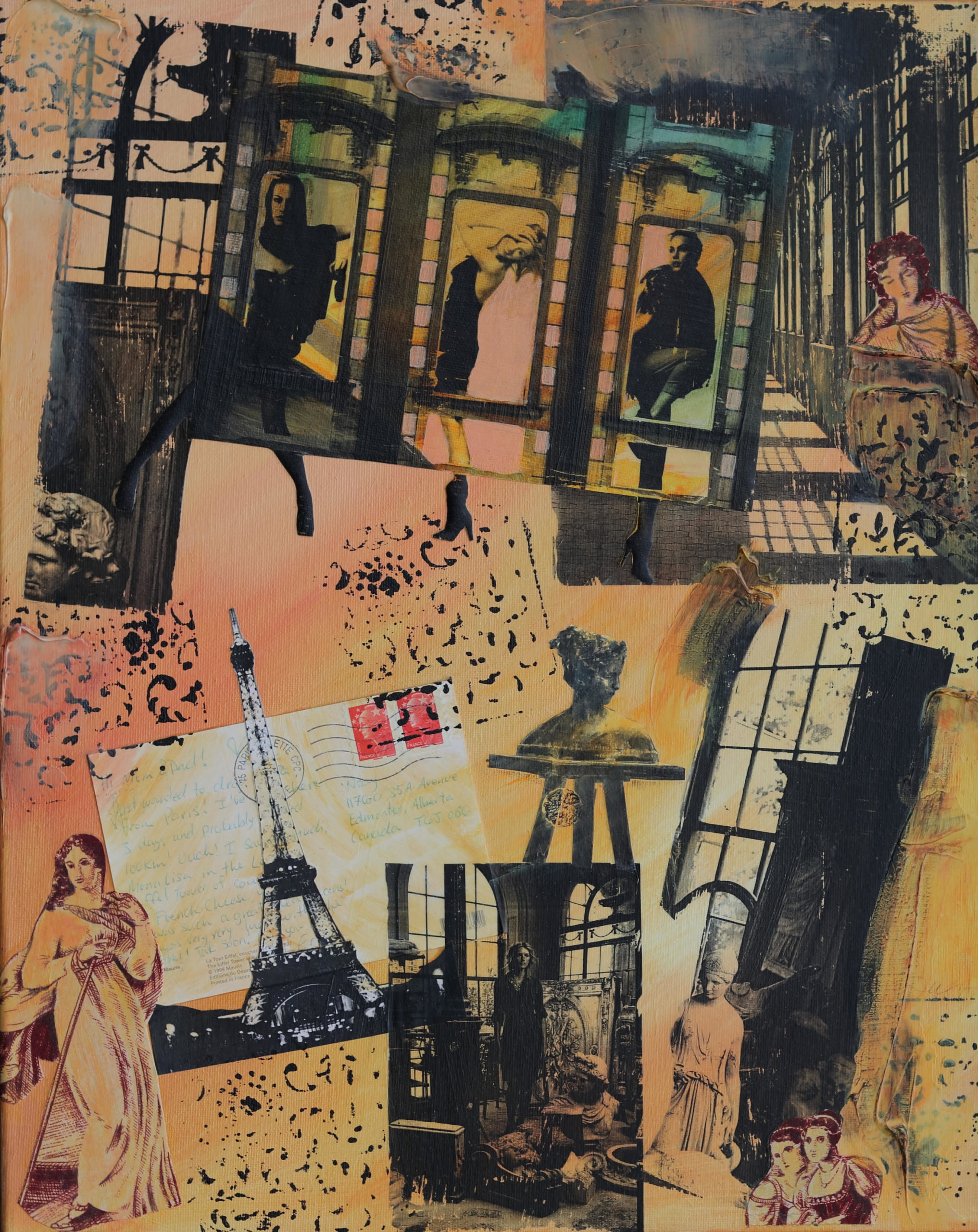 Johanna Wray Postcard from Paris, mixed media on canvas, 40 x50 cm framed