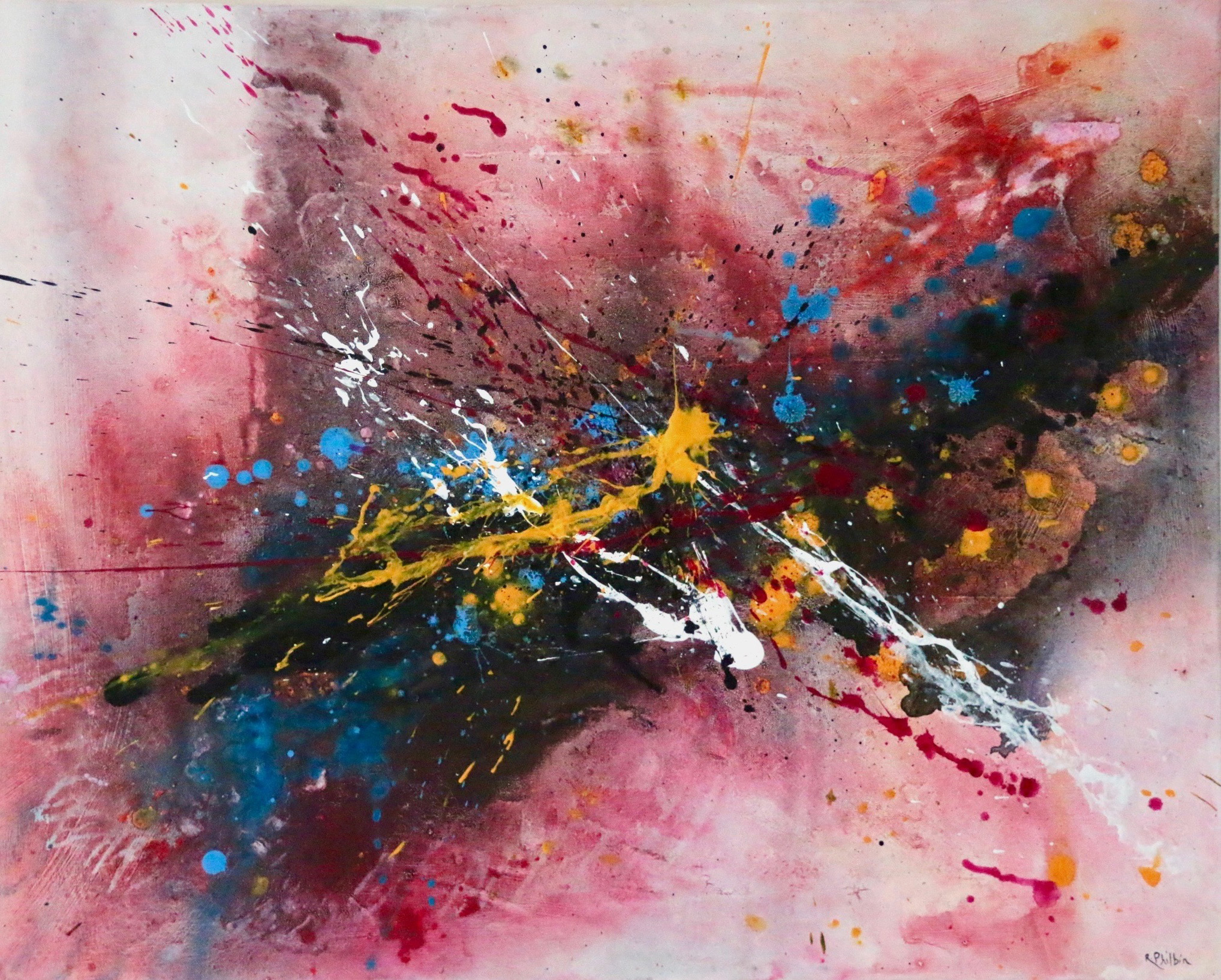 Rine_Philbin_Falling_in_Love_acrylic_on_canvas_brush_scrapers_spraying_throwing_paint_60x75cm_2019