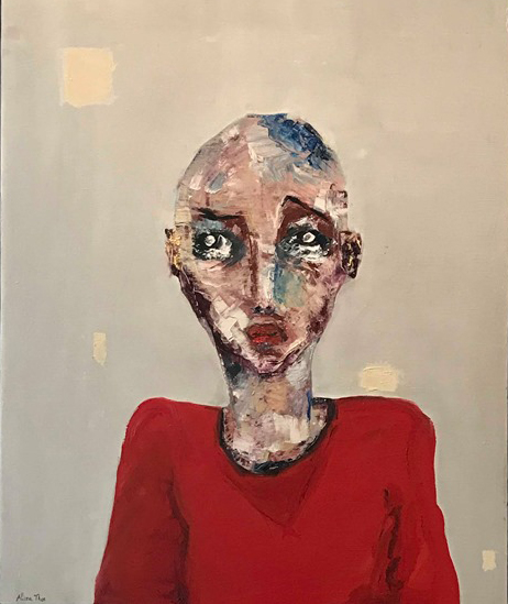 Alissa THOR Le pull-over rouge, huile sur toile 61 x 50 cm 2017